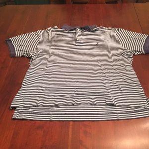 Nautical blue striped polo shirt